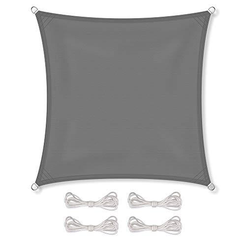 CelinaSun Sonnensegel inkl Befestigungsseile PES Polyester wasserabweisend imprägniert Quadrat 4 x 4 m anthrazit