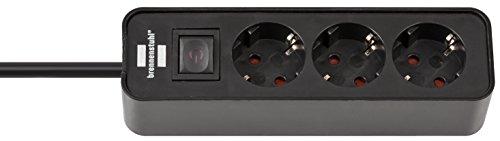 Brennenstuhl Ecolor regleta enchufes con 3 tomas corriente (cable de 1,5 m, con interruptor) color negro