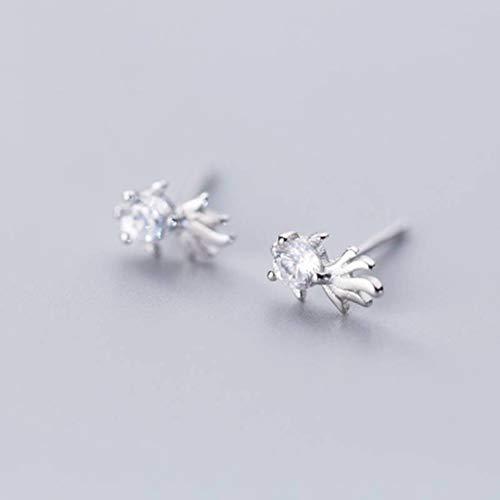 WOZUIMEI S925 Pendientes de Plata Estilo Coreano Femenino Diamante de Moda Pequeños Pendientes de Pez Dorado Temperamento Pez LindoPendientes