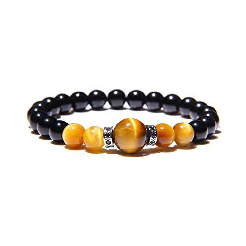 Pulsera de cuentas de equilibrio tibetano con ojo de tigre amarillo brillante y piedra natural de ónice negro, con diseño de curación de chakra y yoga y acabado con detalles de abalorios de cristal plateado incrustados