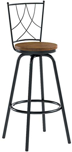 URANMOLE Bar Stools/Chairs with Backrest for Bistro Pub Kitchen Coffee Breakfast, Round Wood Swivel Seat, Bar/Counter Height, Set of 2, Metal Black