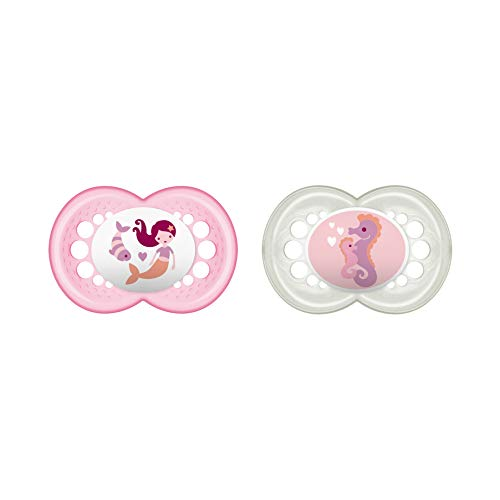 MAM Original Latex Schnuller im 2er-Set, symmetrischer und kiefergerechter Sauger, zahnfreundlicher Baby Schnuller aus Naturkautschuk mit Schnullerbox, 6-16 Monate, rosa