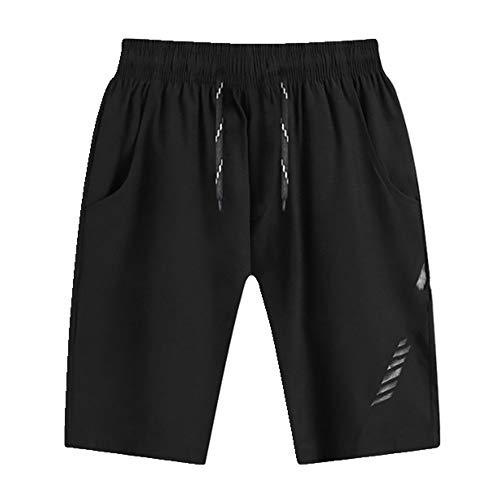 U/A Pantalones Cortos De Verano Casual Pantalones Cortos De Playa Hombres Gimnasios Deporte Bodybuide Pantalones Cortos Ajustados Fitness Ropa Nuevo Negro Negro 3XL