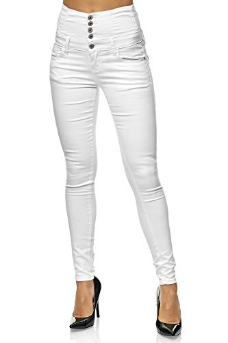 Elara Damen Stretch Jeans Skinny High Waist Chunkyrayan 2071 M White 42 (XL)