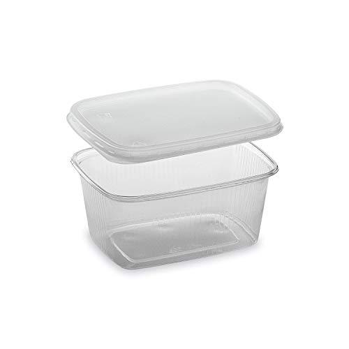 LogiPack GeRo Feinkostbecher mit Deckel 250ml eckig Verpackungsbecher Salatbecher Salatschale Verpack-Becher Polypropylen (PP) (250)