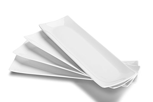 """DOWAN Serving Platter, Sushi Plate Serving Plates Set of 4, 14"""" X 4"""" Serving Tray, Dishwasher & Microwave Safe Rectangular Serving Dishes for Party, White"""