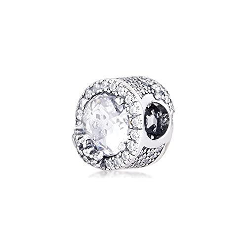 LILANG Pulsera de joyería Pandora 925, ajustes Naturales para deslumbrantes Cuentas de Copo de Nieve con Plata de Ley Transparente, Encanto de Moda para Mujeres, Regalos de Bricolaje