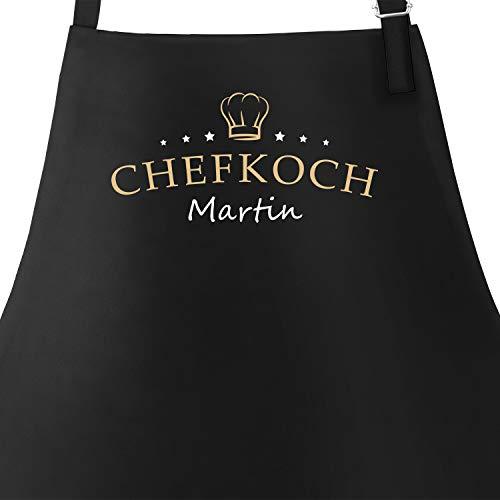 SpecialMe® Küchen-Schürze eigener Name Schriftzug Chefkoch individualisierbar Kochschürze Männer personalisierte Geschenke schwarz Unisize