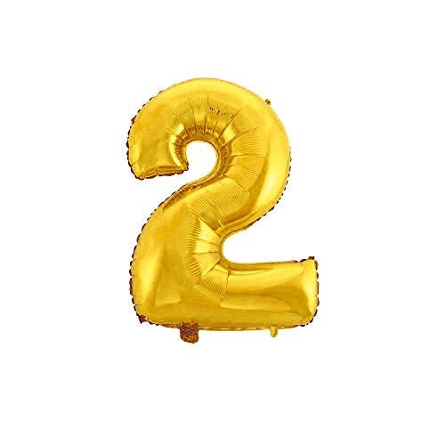 WeAreAwesome Folien-Ballon Luft-Ballon ZIFFER Zahl 2 Gold 60CM XL Aufpusten Geburtstag Hochzeit Party Feier