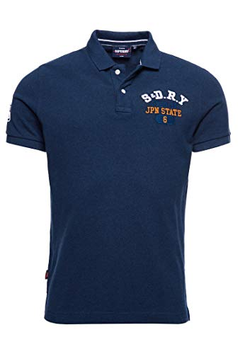 Superdry Classic Superstate S/s Polo, Azul (Ensign Blue Twist Tuu), S para Hombre