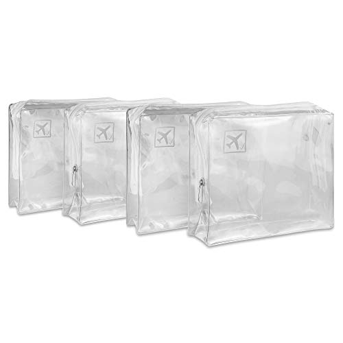 4pcs Clear Toiletry Bag with Zipper Travel Luggage Pouch Carry On Clear Airport Airline Compliant Cosmetic Makeup Bags
