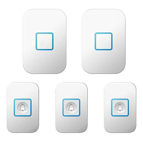 BYCDD draadloze deurbel, waterdichte draadloze deurbelset met 2 ontvangers en 3 zenders met een bereik van meer dan 1000 voet 50 beltonen, 5 volumeniveaus wit