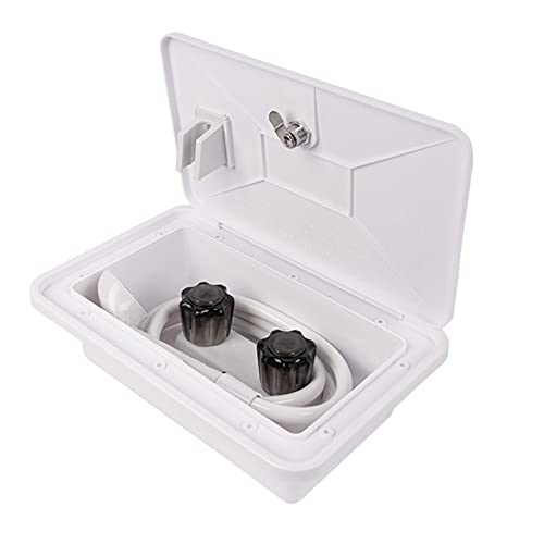 Fiacvrs Kit de caja de ducha exterior Camper RV, resistente a la intemperie Rv grifo de ducha piezas y accesorios, kit de caja de ducha al aire libre con cerradura y llave (blanco)