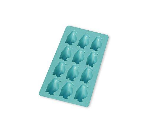Lékué Eiswürfelform Pinguine für 12 Eiswürfel in türkis, Natürliches Gummi, 22 x 11,4 x 2,6 cm