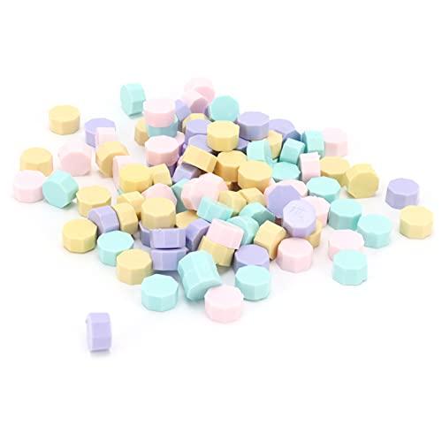 Alvinlite Perlas de Cera para sellar, Kit de Perlas de Cera para sellar octogonales DIY Sellar partículas de Cera para sellar Accesorios para fabricar 100 Piezas de Herramientas de artesanía
