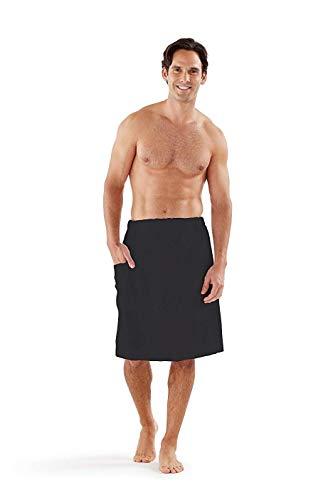 Boca Terry Men's Spa Wrap - 100% Cotton Spa, Gym, Bath Towel - Black, White - Medium/Large, 2XL, 4XL