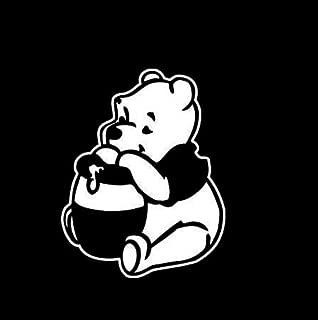 CCI Winnie The Pooh Eating Honey Decal Vinyl Sticker|Cars Trucks Vans Walls Laptop|White|5.5 x 4.3 in|CCI2156