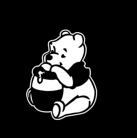 CCI Winnie The Pooh Eating Honey Decal Vinyl Sticker|Cars Trucks Vans Walls Laptop|White|5.5 x 4.3 in|CCI2156