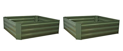 Selections Set of 2 Metal Raised Vegetable Beds in Green (100cm x 30cm)