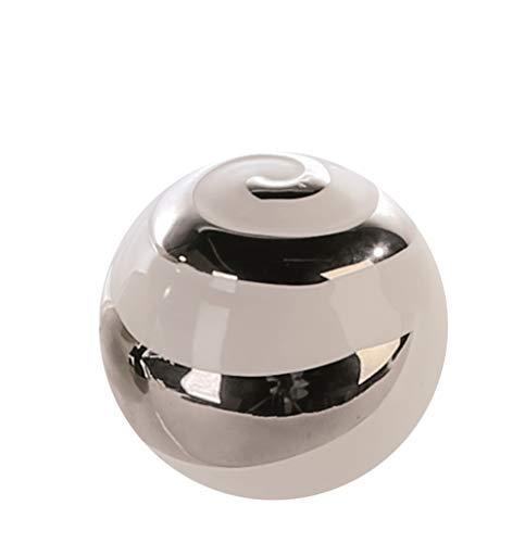 Lifestyle & More Moderne Deko Kugel weiß/Silber aus Keramik Durchmesser 15 cm