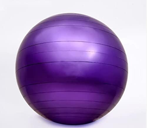 Pelota de fitness con bomba de 65 cm, antiexplosión, para yoga, pilates, gimnasia, ejercicio en casa (morado)