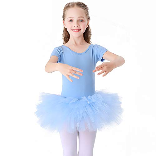 Bezioner Maillot de Danza Tutú Vestido de Ballet Gimnasia Leotardo Algodón Body Clásico para Niña Azul 120