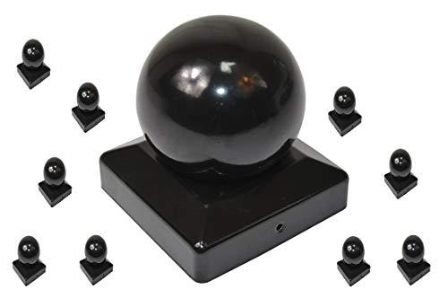 9 x Pfostenkappe Kugel schwarz f/ür 90er Pfosten Pyramidenform Abdeckkappe Pfostenabdeckung von SO-TOOLs/®