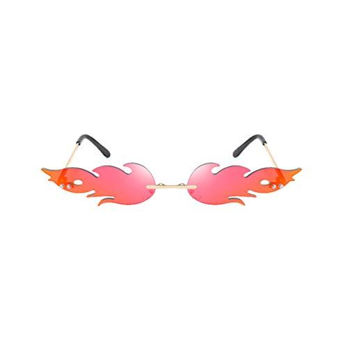 Toyvian Frauen Feuer Flamme Sonnenbrillen Randlos Welle Sommer Brillen Neuheit Brillen Narrow Sunglasses Bar Pool Summer Hawaii Strand Party Kostüme Schmuck für Männer Damen Rot