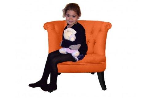 SOLDES - Petit fauteuil crapaud capitonné Velours orange