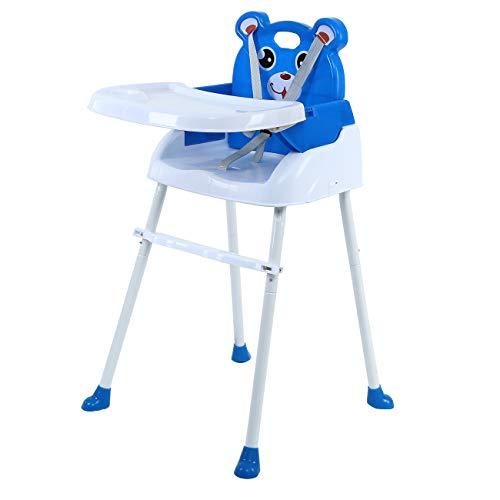 Honhill Seggiolone Portatile 4 in 1 Sedia Pieghevole per Bambini con cinture di sicurezza e seggiolino rimovibile per sedile junior con seggiolino portatile Capacità di carico 88,18 libbre (blu)