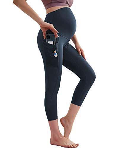 Maacie - Pantalón de embarazo para mujer, fitness, de maternidad, yoga, piernas, delgado, color liso Mc53s21-3/Azul Marino S