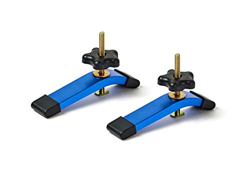 T-track Hold Down Clamps,6-3/8'L x 1-1/4'Width-Woodworking and Clamps-High Strength Aluminum Alloy 6063-Fine Sandblast Anodized - Blue Color- 2 Pack