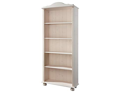 Bücherregal weiß Kiefer massiv Regal groß Landhaus Standregal Holzregal Büroregal Aktenregal Ordnerregal 5 Fächer 77 x 30 x 181 cm
