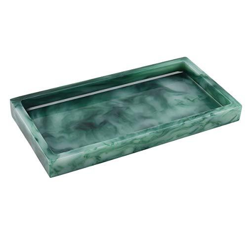 Luxspire Waschbecken Aufbewahrungstablett Dekorplatte, Mini Rechteckig Harz Tablett mit polierter Oberfläche, Dekorativ Platte für Schmuck Seifenspender Kerzen Seife Pflanze Tuch - Dunkel Grün
