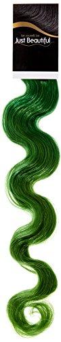 Just Beautiful Hair and Cosmetics Lot de 10 extensions cheveux ondulés Remy à bandes adhésives Vert 10 x 2,5 g 50 cm