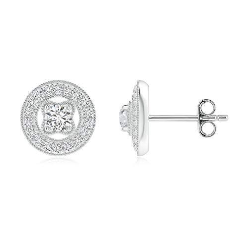 Gopi Pendientes de gemas de corte redondo de 2 quilates, estilo vintage, diamantes de moissanita incoloros, pendientes de plata de ley 925, juego de pavé, ideal para regalo o como quieras