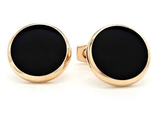 Gemelli rotondi placcati in vero oro rosa con pietra di luna nera, da uomo, con sacchetto regalo viola e scatola portagioie nera.