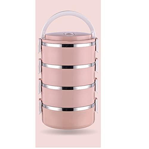 GXGX Fiambrera de metal aislante para el almuerzo, fiambrera para estudiantes, bento, caja de oficina, fiambrera, mantiene la comida caliente, apilable, color rosa, 3 capas