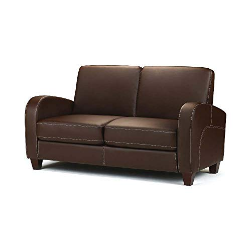 Happy Beds Vivo Brown Faux Leather 2 Seater Sofa Couch Modern Furniture New