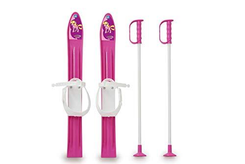 Jamara 460388 - Snow Play Ski Langlauf 1st Step 60cm pink - aerodynamische Bauweise, Skistöcke 60 cm, sichere Befestigungsschlaufen für verschiedene Schuhtypen und Größen (23 - 28)