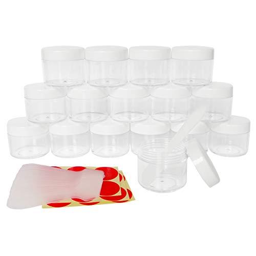 GreatforU 16 Stück 20 Gramm Dosen Döschen Leere mit Deckel Transparente Proben Kosmetikbehälter plastik Pot für Kosmetikdose, Creme, lippenbalsam und Lotion, mit Free 16 Stück Mini Spatulas Labels