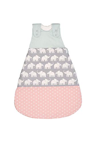 ULLENBOOM ® Schlafsack Baby ganzjährig 0 bis 4 Monate 56/62 Elefant Mint Rosa (Made in EU) - Baby Schlafsack ganzjährig für Frühling, Herbst und Winter, Babyschlafsack mit Motiv: Sterne