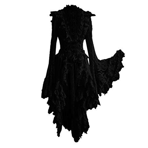 XUEJIN Womens Vintage Dresses Celtic Long Sleeve Medieval Maxi Dresses Renaissance Gothic Cosplay Dress Black