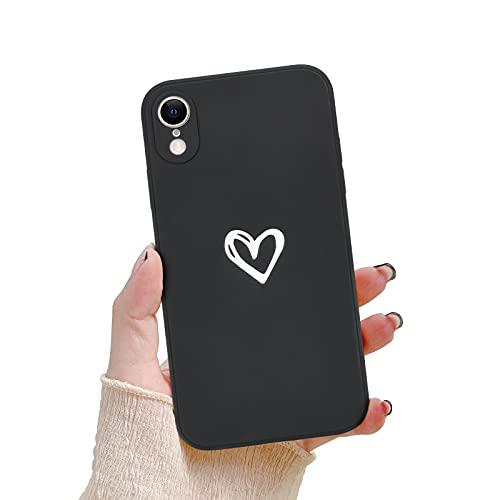 Newseego Custodia per iPhone XR Morbido Silicone Liquido, Carino Heart Design Case Cover Sottile in Gomma Gel Morbida per iPhone XR per Donne Protettivo Custodia in Antiurto Sottile iPhone XR-Nero