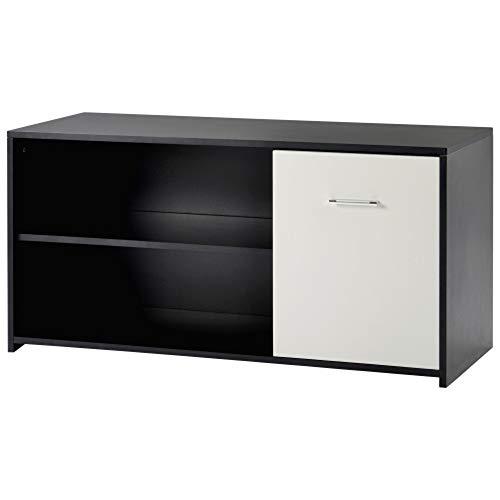 RUOXI Tv-Schrank, Multifunktionale Moderne 2-Stöckige Holz-Tv-Speichereinheit-Schwarz-Wohnzimmer Schlafzimmer Lounge