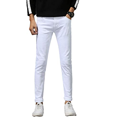 Men's Denim Pure Cotton Solid Color Fashion Korean Style Slim Waist Stretch Casual All-Match Spring and Summer Long Pants 30