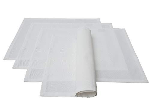 Lemos-Home Juego de manteles Individuales, 4 Unidades, Aprox. 46 x 36 cm, de algodón, Muchos Colores (Blanco)