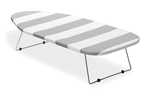 Whitmor Tabletop Ironing Board, Grey/White Striped Cover