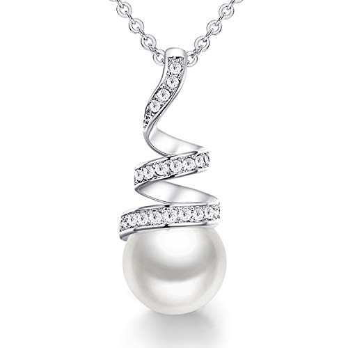"""CDE Pearl Necklaces for Women 925 Sterling Silver Necklace """"Only You"""" Pearl Pendant Necklace Jewellery Christmas Gifts(925 Sterling silver White)"""
