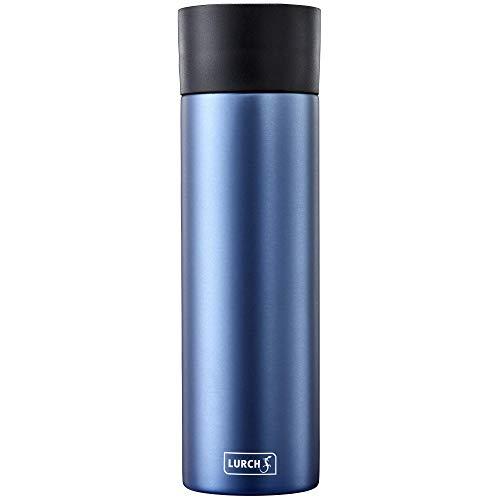 Lurch 240985 Isolierbecher / Thermobecher mit Einhandbedienung für heiße und kalte Getränke aus doppelwandigem Edelstahl 0,5 l, denim blue